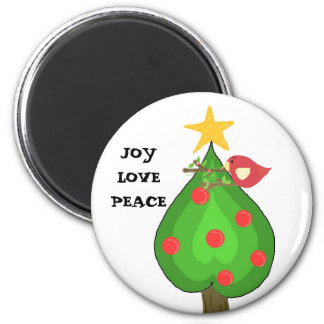 Whimsical Tree and Bird 6 Cm Round Magnet