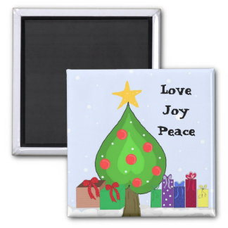 Whimsical Tree and Packages Square Magnet