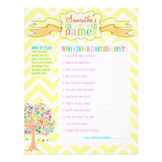 "Whimsical Tree ""Baby Shower Games"" Activity Sheet Full Color Flyer"