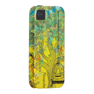 Whimsical Tree Birdcage Bright Color Musical Notes Vibe iPhone 4 Covers