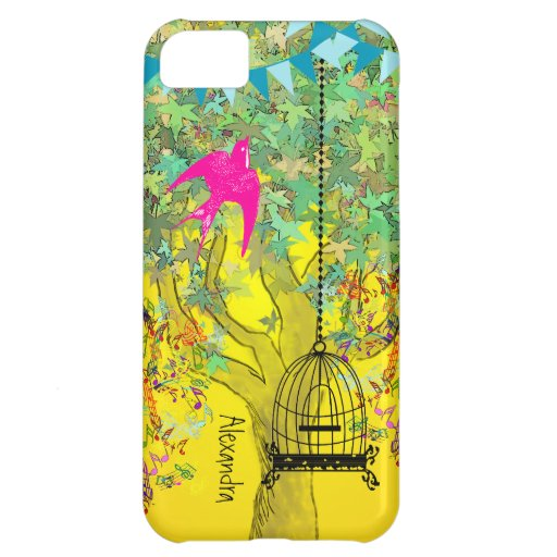 Whimsical Tree Birdcage Bright Color Musical Notes iPhone 5C Cover