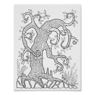 Whimsical Tree Cardstock Adult Coloring Page Poster