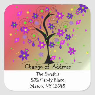 Whimsical Tree Change of Address Square Sticker