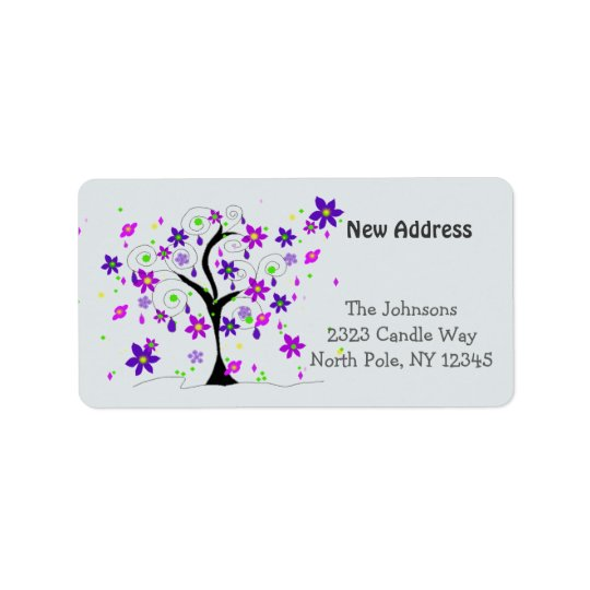 Whimsical Tree New Address Label
