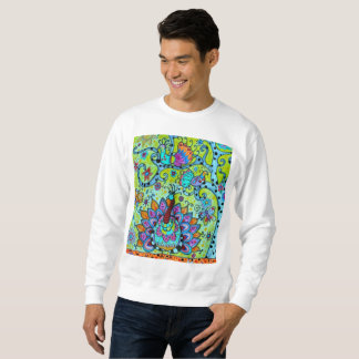 WHIMSICAL TREE OF LIFE BIRDS PAINTING SWEATSHIRT