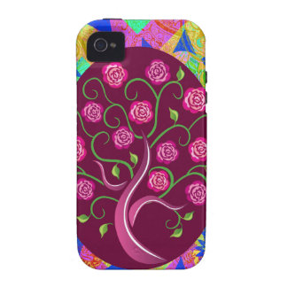 Whimsical Tree of Life Roses Colorful Abstract Case-Mate iPhone 4 Case