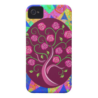 Whimsical Tree of Life Roses Colorful Abstract iPhone 4 Case-Mate Case