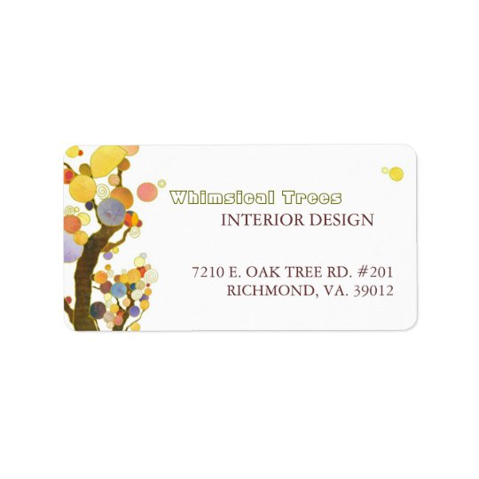 Whimsical Trees Interior Business Label