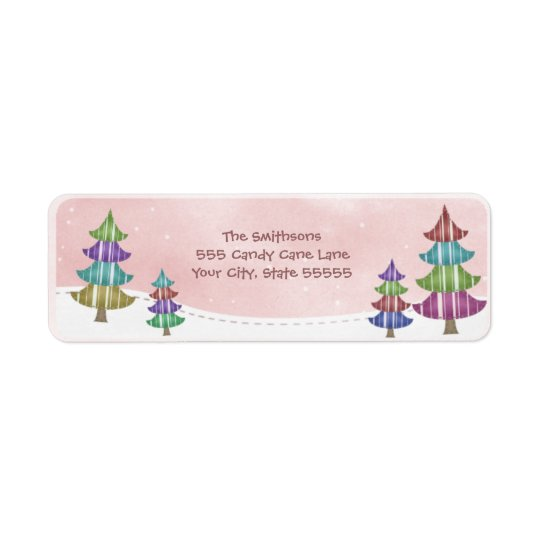 Whimsical Trees Pink Snow Sky Return Address Label