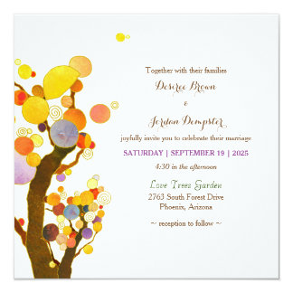 Whimsical Trees Rustic Botanical Wedding Card