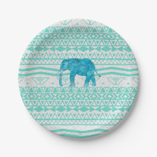 Whimsical Turquoise Paisley Elephant Aztec Pattern 7 Inch Paper Plate