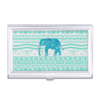 Whimsical Turquoise Paisley Elephant Aztec Pattern Business Card Holder