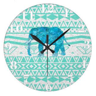 Whimsical Turquoise Paisley Elephant Aztec Pattern Large Clock