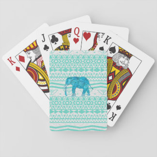 Whimsical Turquoise Paisley Elephant Aztec Pattern Playing Cards