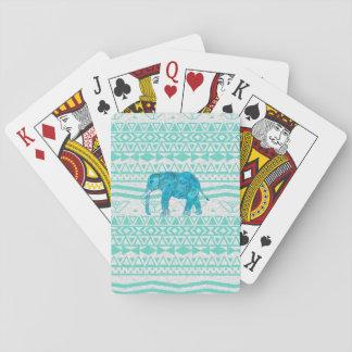 Whimsical Turquoise Paisley Elephant Aztec Pattern Poker Deck