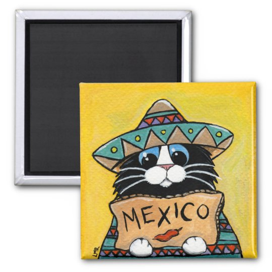 Whimsical Tuxedo Cat Mexican Hitchhiker Square Magnet