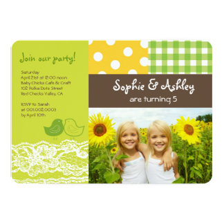 Whimsical Twin Birds Lace Birthday Party Photo Card