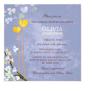 Whimsical Two Hearts Blue Floral Bridal Shower 13 Cm X 13 Cm Square Invitation Card