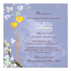 Whimsical Two Hearts Blue Floral Bridal Shower Card