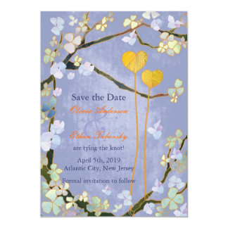Whimsical Two Hearts Floral Save the Date Card