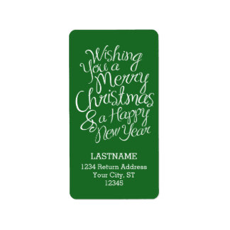 Whimsical Typography for Christmas and New Year Address Label