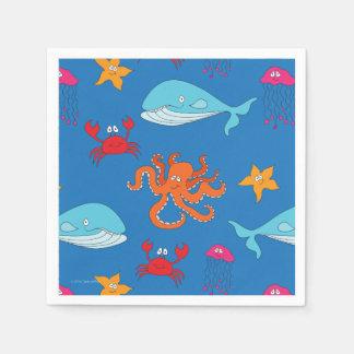 Whimsical Under the Sea Cocktail Napkin, Dark Blue Paper Serviettes