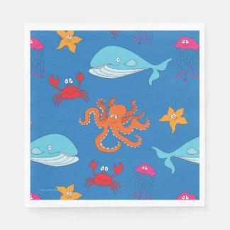 Whimsical Under the Sea Luncheon Napkin, Dark Blue Paper Napkin