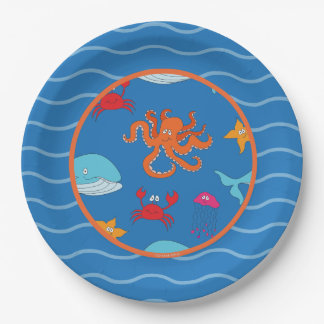 """Whimsical Under the Sea paper plate 9"""", Dark Blue 9 Inch Paper Plate"""