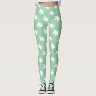 Whimsical Unicorn Head Legging in Pastel Teal