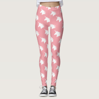 Whimsical Unicorn Head Legging in Salmon Pink