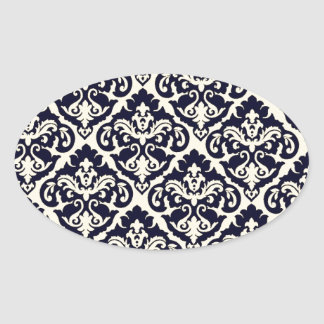 Whimsical Victorian Damask Oval Sticker