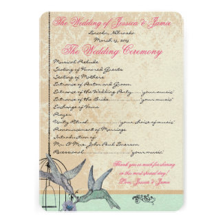 Whimsical Vintage Bird Cage Wedding Program Invitations