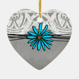 Whimsical Vintage Blue and Grey Daisy Christmas Ornament