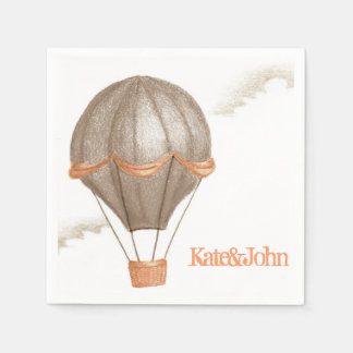 Whimsical Vintage Hot Air Balloon Disposable Napkin