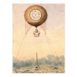 Whimsical vintage hot air balloon postcard