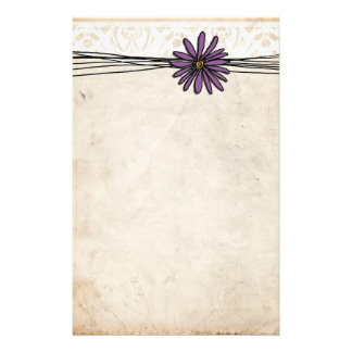 Whimsical Vintage Purple Daisy Stationery