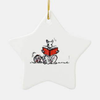 Whimsical Vintage Reading Squirrels Christmas Ornament