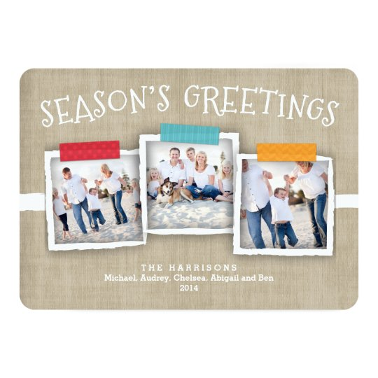 Whimsical Washi Tape Photo Season's Greeting Card