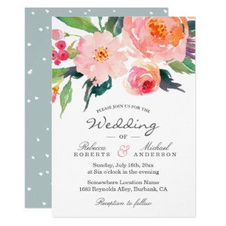 Whimsical Watercolor Botanical Wedding Invitation
