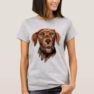 Whimsical Watercolor Chocolate Labrador Retriever T-Shirt