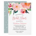 Whimsical Watercolor Floral Modern Bridal Shower Card