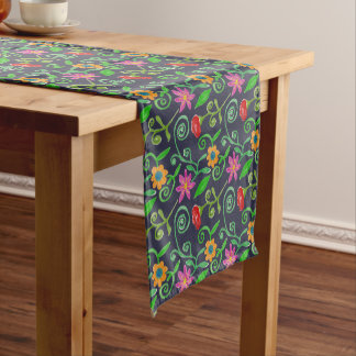 Whimsical Watercolor Floral Short Table Runner