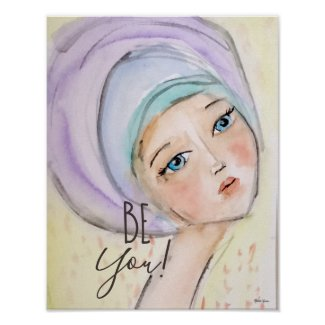 Whimsical Watercolor Girl Lavender Blue Yellow Fun Poster