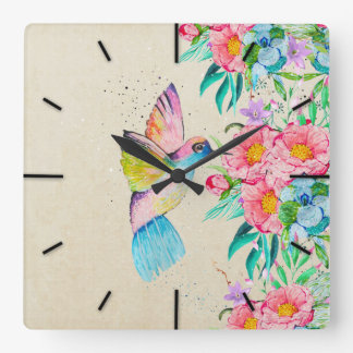 Whimsical watercolor hummingbird and flowers square wall clock