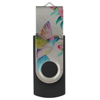 Whimsical watercolor hummingbird and flowers swivel USB 3.0 flash drive