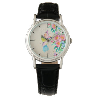 Whimsical watercolor hummingbird and flowers watch
