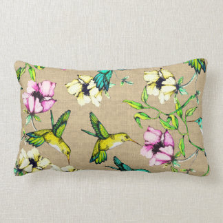 Whimsical Watercolor Hummingbirds & Flowers Lumbar Cushion