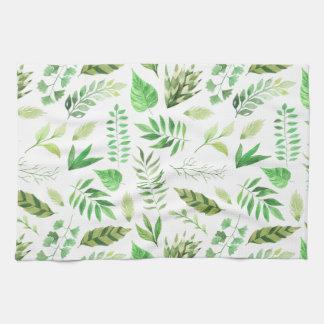 Whimsical Watercolor Leaves Greenery | Tea Towel