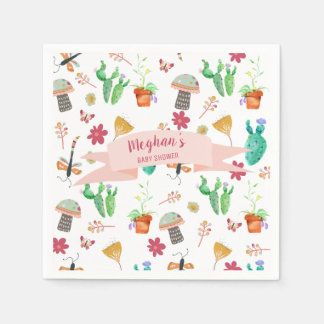 Whimsical Watercolor Nature Baby Shower Disposable Napkin