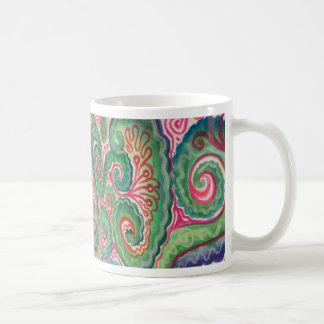 Whimsical Watercolor: Pink and Bright Green Coffee Mug